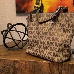 Michael Kors MK Print KhakiBrown Leather Trim Tote
